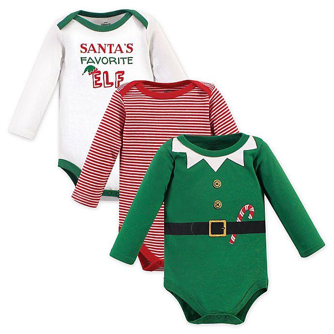 Alternate image 1 for Little Treasure 3-Pack Elf Long Sleeve Bodysuits in Green
