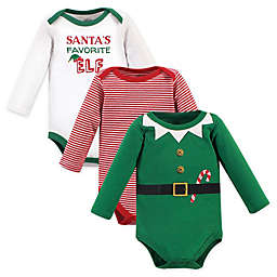 Little Treasure 3-Pack Elf Long Sleeve Bodysuits in Green