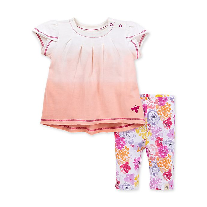 Alternate image 1 for Burt's Bees Baby® 2-Piece Dip-Dyed Tunic & Capri Legging Set in Dawn