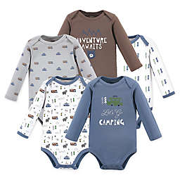 Luvable Friends Size 0-3M 5-Pack Camping Long Sleeve Bodysuits