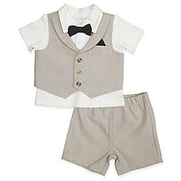 Clasix Beginnings™ by Miniclasix® Size 3M 3-Piece Vest, Shirt and Short Set in Tan