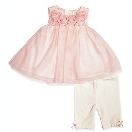 Clasix Beginnings™ by Miniclasix® 2-Piece Rosette Top and Pant Set in Pink