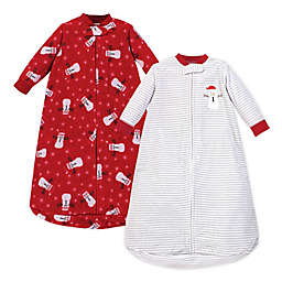 Hudson Baby Size 0-9M 2-Pack Snowman Fleece Long Sleeve Sleeping Bags in Red/White