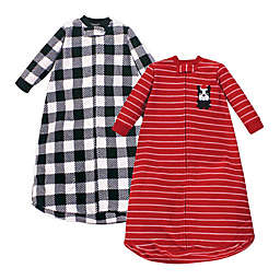 Hudson Baby Size 0-9M 2-Pack Christmas Dog Fleece Long Sleeve Sleeping Bags in Red/Blue