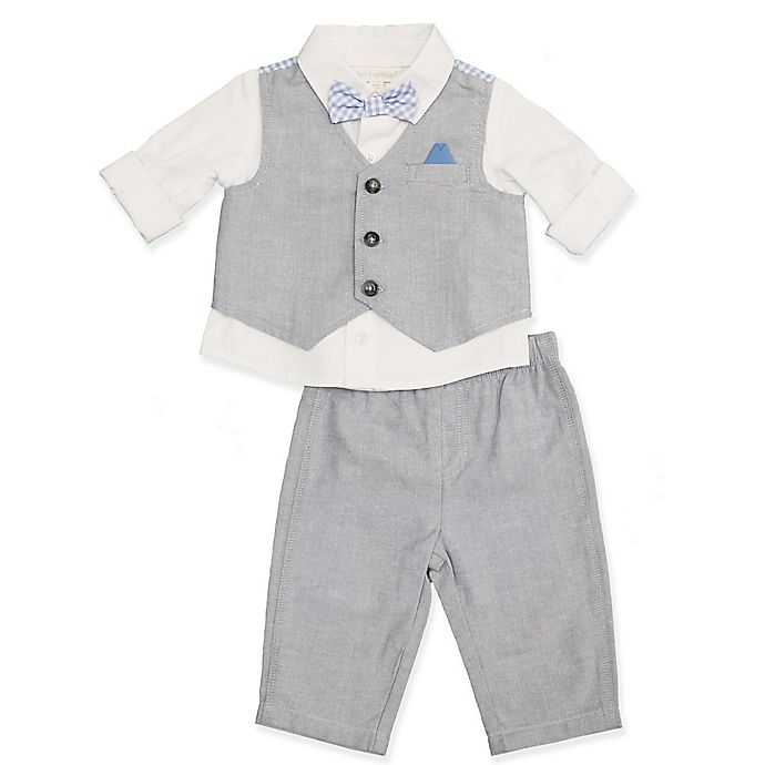 Alternate image 1 for Clasix Beginnings™ by Miniclasix® 3-Piece Vest, Shirt and Pant Set in Grey
