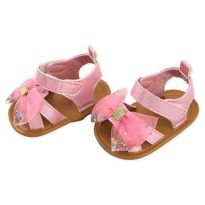 Alternate image 1 for Rising Star® Glitter Bow Sandal in Pink