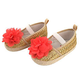 Rising Star® Size 0-3M Flower Espadrille Sandal in Gold/Coral