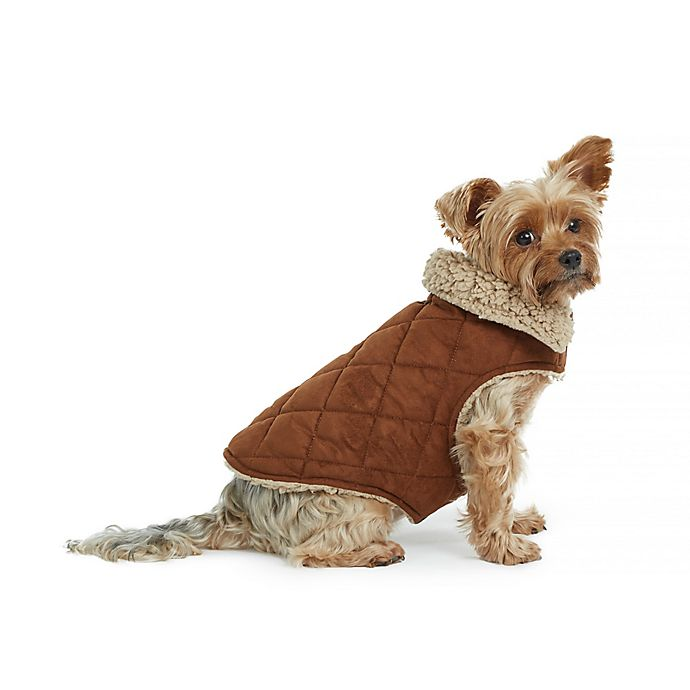 Alternate image 1 for Bee & Willow™ Home Faux Suede and Sherpa Lined Dog Coat in Brown
