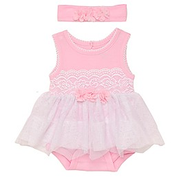 Baby Starters® 2-Piece Lace and Tulle Skirted Bodysuit with Headband