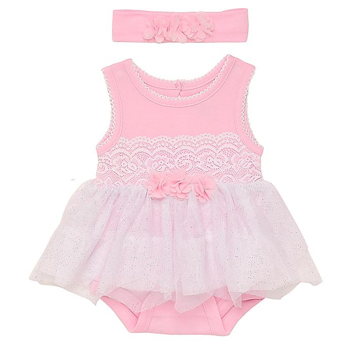 Alternate image 1 for Baby Starters® 2-Piece Lace and Tulle Skirted Bodysuit with Headband