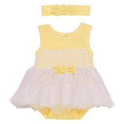 Baby Starters® Newborn 2-Piece Lace and Tulle Skirted Bodysuit with Headband in Yellow
