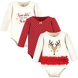 Little Treasure 3-Pack Pretty Reindeer Long Sleeve Bodysuits in Red