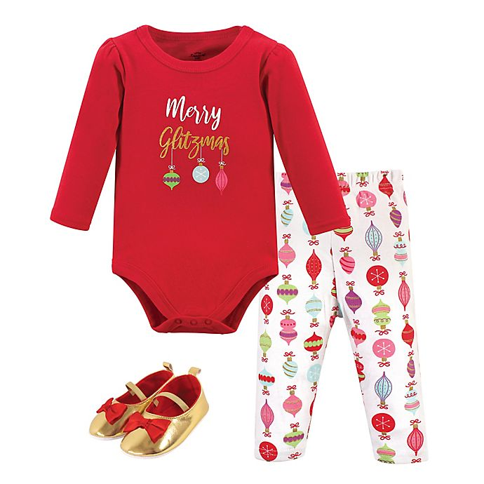 Alternate image 1 for Little Treasure 3-Piece Holiday Bodysuit, Pant, and Shoe Set