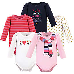 Little Treasures Size 18-24M 5-Pack Cozy Scarf Long Sleeve Bodysuits in Pink