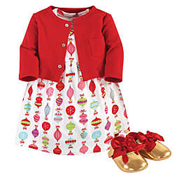 Little Treasure 3-Piece Dress, Cardigan and Shoe Set