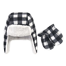 Hudson Baby® 2-Piece Plaid Trapper Hat and Mitten Set