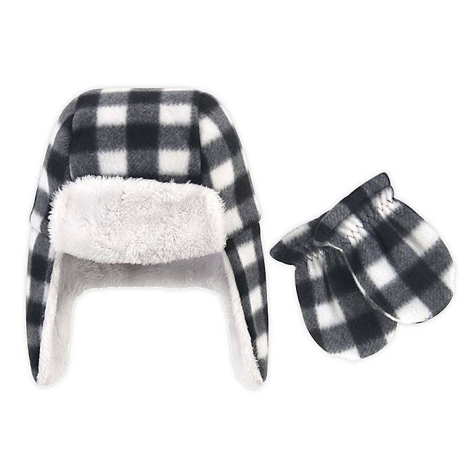 Alternate image 1 for Hudson Baby® 2-Piece Plaid Trapper Hat and Mitten Set