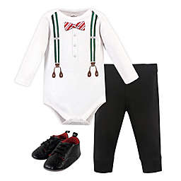Little Treasure 3-Piece Holiday Bodysuit, Pant and Shoe Set