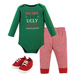 Little Treasure Size 0-3M 3-Piece Ugly Sweater Bodysuit, Pant and Shoe Set in Red