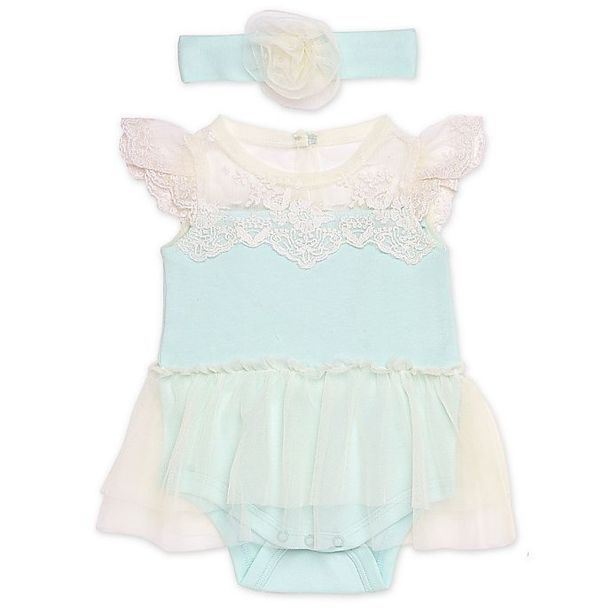 Alternate image 1 for Baby Starters® 2-Piece Lace Skirted Bodysuit and Headband Set