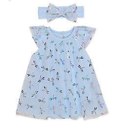 Baby Starters® Size Newborn 2-Piece Trapeze Dress and Headband Set in Blue Dragonfly