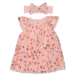 Baby Starters® Size 6M 2-Piece Trapeze Dress and Headband Set in Rose Gold Floral