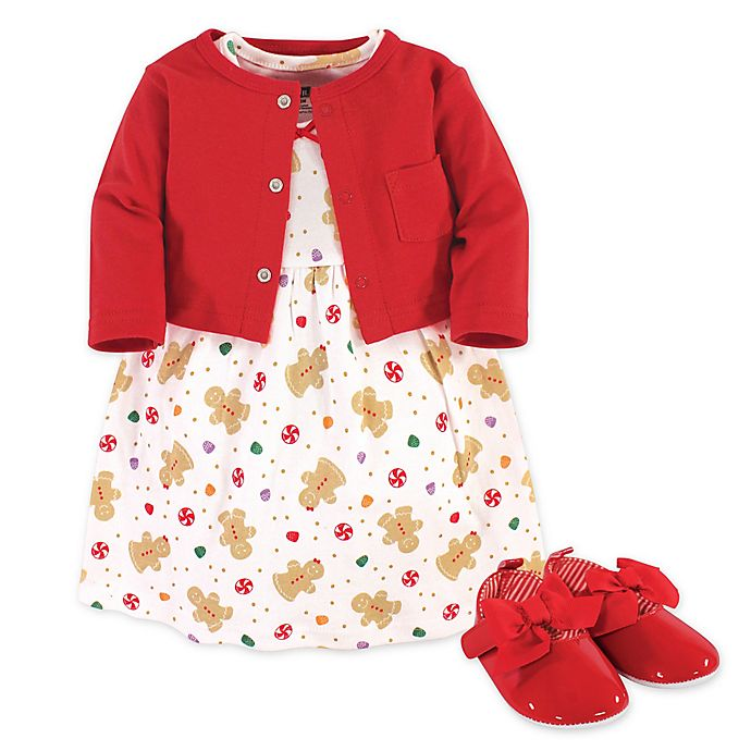 Alternate image 1 for Hudson Baby® 3-Piece Cardigan, Dress, and Shoe Set