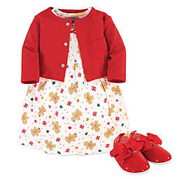 Hudson Baby® 3-Piece Cardigan, Dress, and Shoe Set