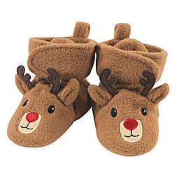 Hudson Baby® Size 0-6M Holiday Reindeer Fleece Scooties in Brown