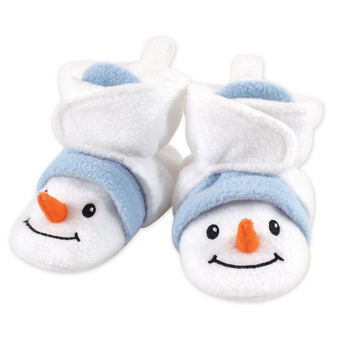 Alternate image 1 for Hudson Baby® Size 12-18M Holiday Snowman Fleece Scooties in White