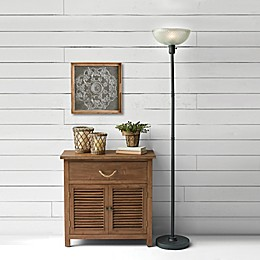 Bee & Willow™ Home Hudson LED Torchiere Floor Lamp in Black with Textured Glass Shade