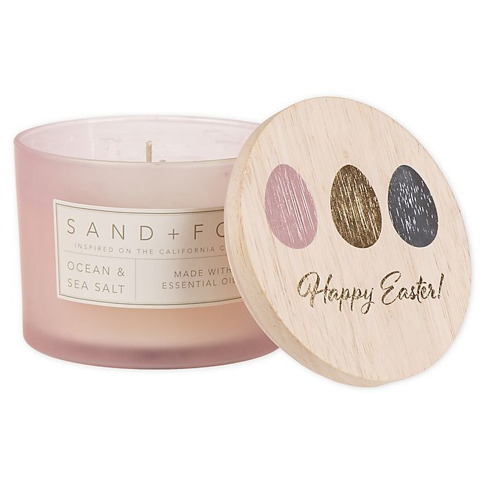 Alternate image 1 for Sand + Fog® Ocean Mist 12 oz. Painted-Lid Jar Candle with Easter Egg Design