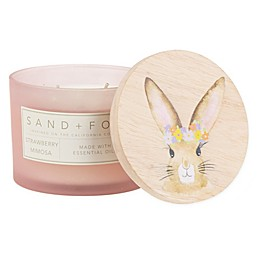 Sand + Fog® Floral Garden 12 oz. Painted-Lid Jar Candle with Bunny and Flowers Design