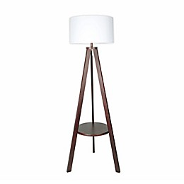 W Home Shaffer Wood Shelf Floor Lamp