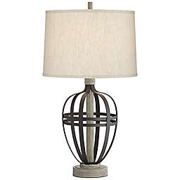 Kathy Ireland® Metal Straps Table Lamp in Black/Grey with Cotton Shade