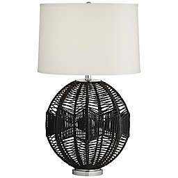 Kathy Ireland® String Basket CFL Bulb Table Lamp in Black with Off-White Linen Drum Shade