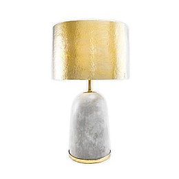 nuLoom Concrete, Aluminum, and Iron Table Lamp with Gold-Plated Drum Shade