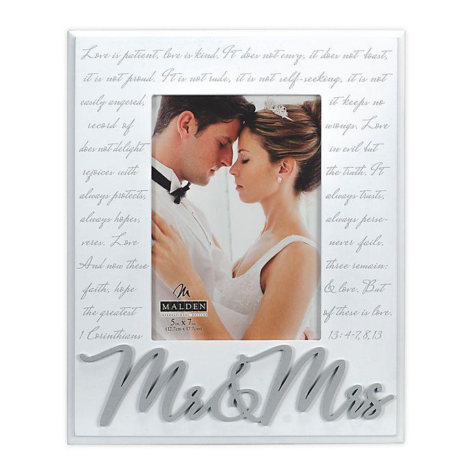 Alternate image 1 for Malden® Mr. & Mrs. Corinthians Picture Frame in White