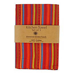 5-Piece 100% Cotton Woven Kitchen Towels in Ole Stripe