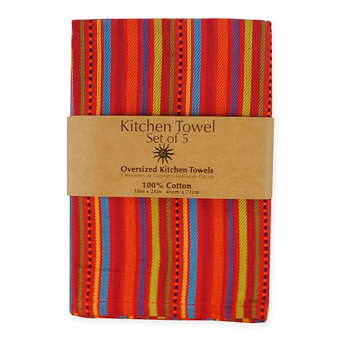 Alternate image 1 for 5-Piece 100% Cotton Woven Kitchen Towels in Ole Stripe