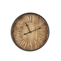 INK+IVY Arden 23.5-Inch Wall Clock in Brown