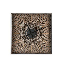 INK+IVY Hastings 27-Inch Square Wall Clock With Glass in Brown