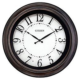 Citizen 18-Inch Circular Lighted Wall Clock in Brown