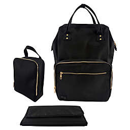 Hudson Baby 3-Piece Diaper Backpack Set in Black