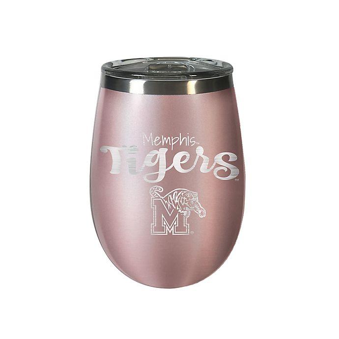 Alternate image 1 for University of Memphis 12 oz. Rose Gold Insulated Wine Tumbler