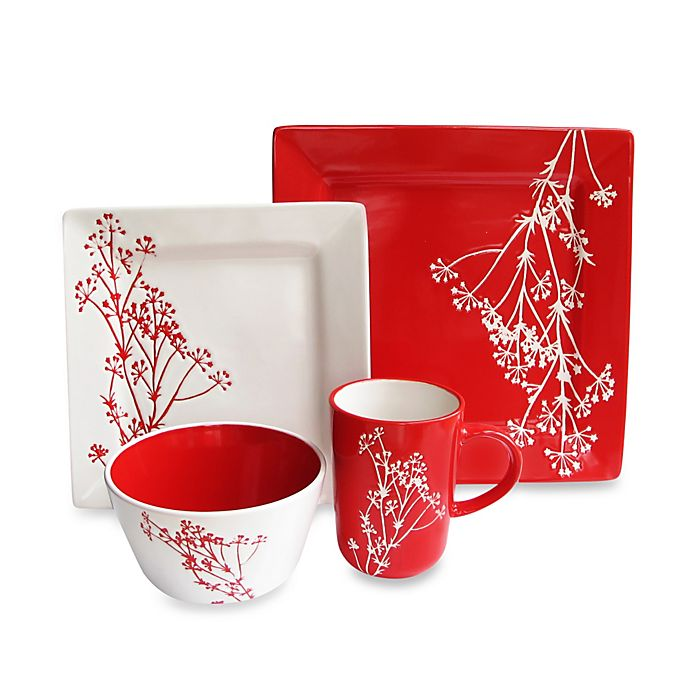 Alternate image 1 for American Atelier Blossom Branch 16-Piece Dinnerware Set in White/Red