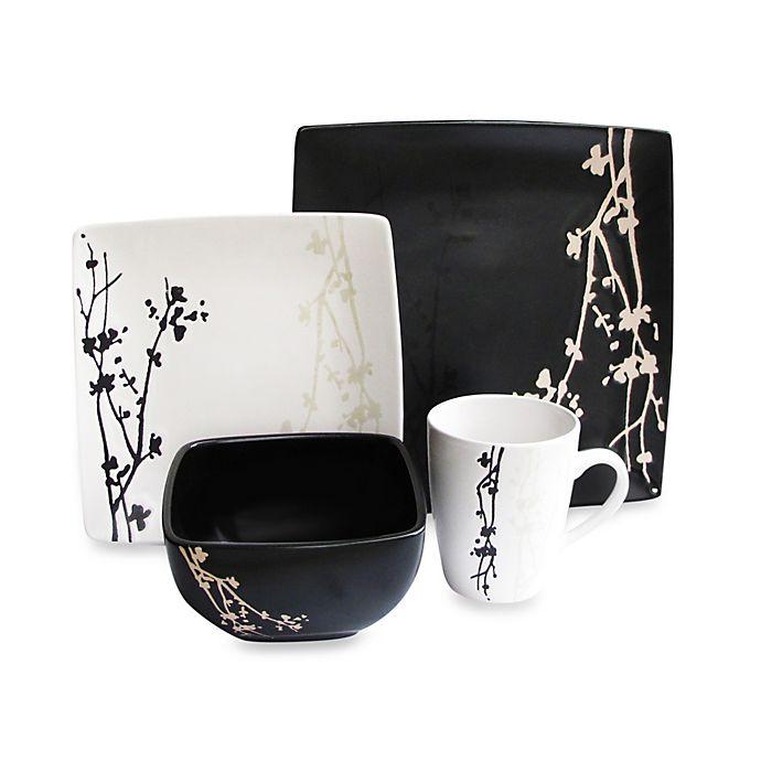 Alternate image 1 for American Atelier Blossom Branch 16-Piece Dinnerware Set in Brown/White