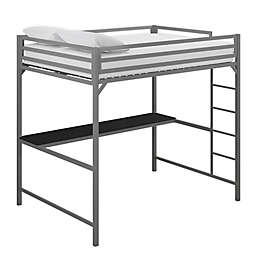 Miles Full Loft Bed with Desk in Silver