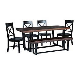 Forest Gate™ 6-Piece Solid Wood Dining Set with Bench