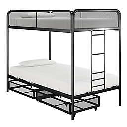 Jaxon Twin Over Twin Metal Bunk Bed with Drawer Storage in Black